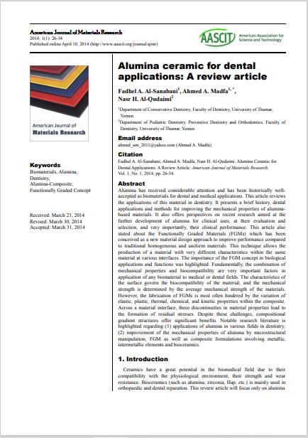 Alumina ceramic for dental applications: A review article