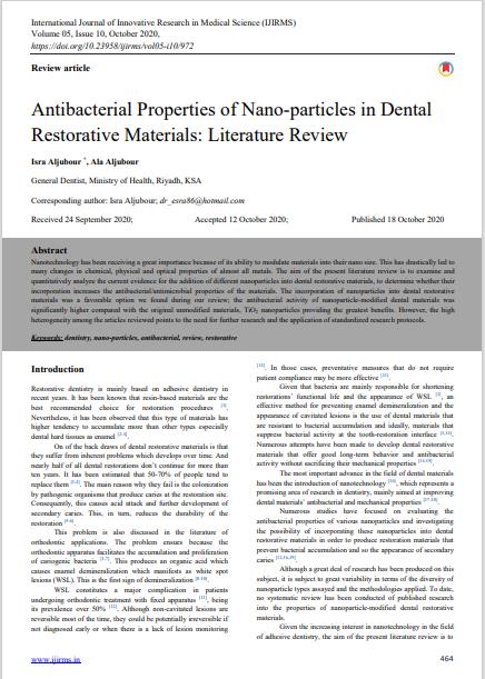 Antibacterial Properties of Nano-particles in Dental Restorative Materials: Literature Review