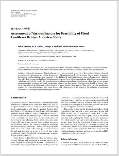 Assessment of Various Factors for Feasibility of Fixed Cantilever Bridge: A Review Study
