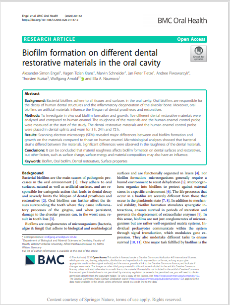 Biofilm formation on different dental restorative materials in the oral cavity