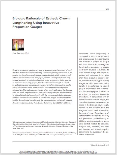 Biologic Rationale of Esthetic Crown Lengthening Using Innovative Proportion Gauges
