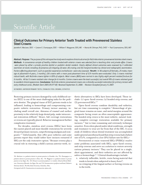 Clinical Outcomes for Primary Anterior Teeth Treated with Preveneered Stainless Steel Crowns