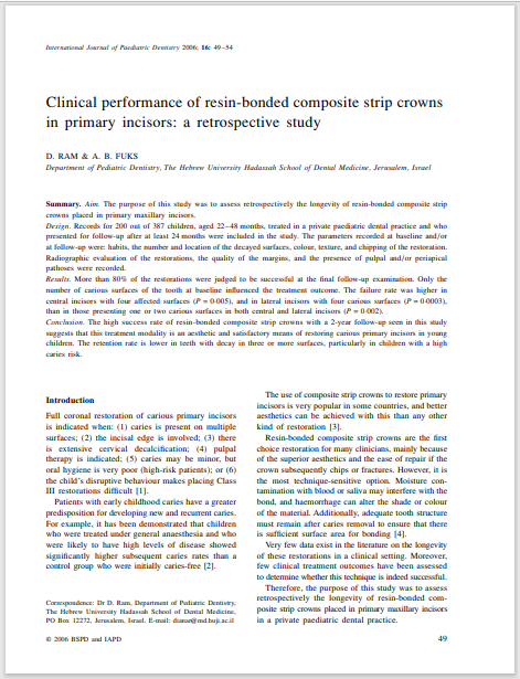 Blackwell Publishing, Ltd. Clinical performance of resin-bonded composite strip crowns in primary incisors: a retrospective study
