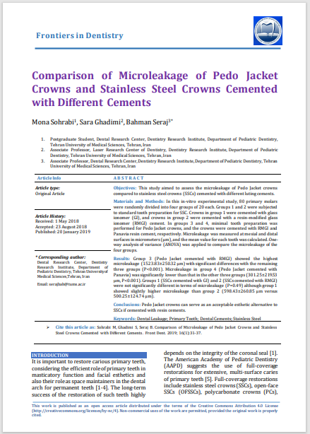 Comparison of Microleakage of Pedo Jacket Crowns and Stainless Steel Crowns Cemented with Different Cements