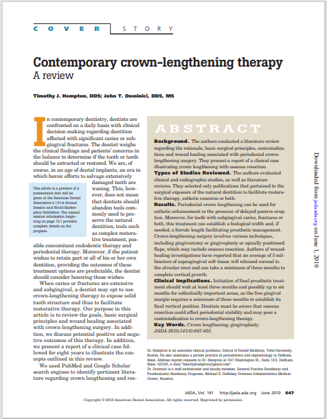 Contemporary crown-lengthening therapy: A Review