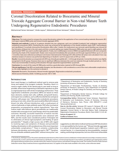 Coronal Discoloration Related to Bioceramic and Mineral Trioxide Aggregate Coronal Barrier in Non-vital Mature Teeth Undergoing Regenerative Endodontic Procedures