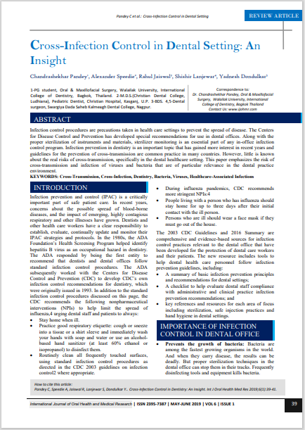 Cross-Infection Control in Dental Setting: An Insight