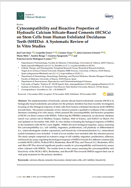 Cytocompatibility and Bioactive Properties of Hydraulic Calcium Silicate-Based Cements (HCSCs) on Stem Cells from Human Exfoliated Deciduous Teeth (SHEDs): A Systematic Review of In Vitro Studies