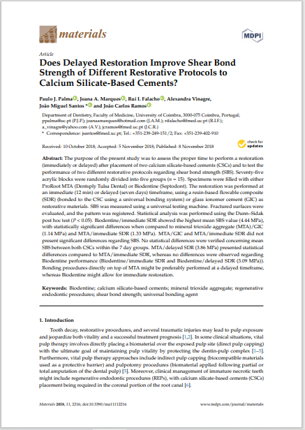 Does Delayed Restoration Improve Shear Bond Strength of Different Restorative Protocols to Calcium Silicate-Based Cements?