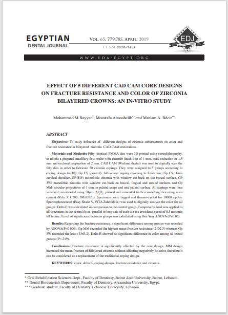 EFFECT OF 5 DIFFERENT CAD CAM CORE DESIGNS ON FRACTURE RESISTANCE AND COLOR OF ZIRCONIA BILAYERED CROWNS: AN IN-VITRO STUDY