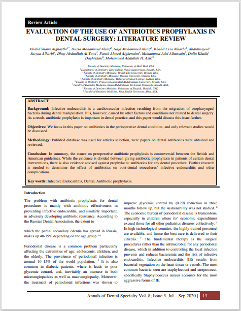 EVALUATION OF THE USE OF ANTIBIOTICS PROPHYLAXIS IN DENTAL SURGERY: LITERATURE REVIEW