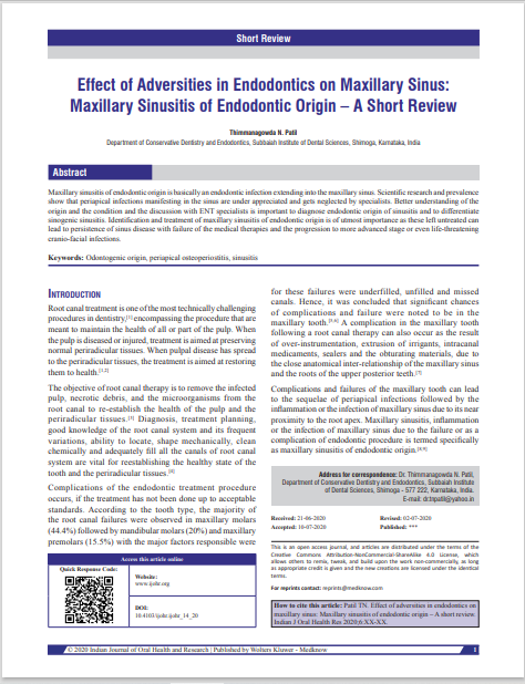 Effect of Adversities in Endodontics on Maxillary Sinus: Maxillary Sinusitis of Endodontic Origin – A Short Review