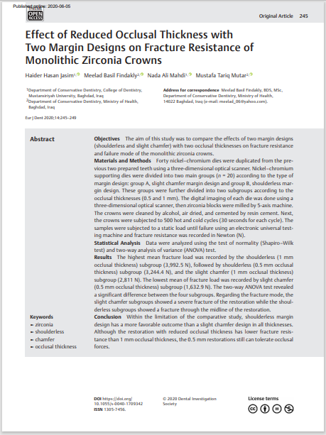 Effect of Reduced Occlusal Thickness with Two Margin Designs on Fracture Resistance of Monolithic Zirconia Crowns