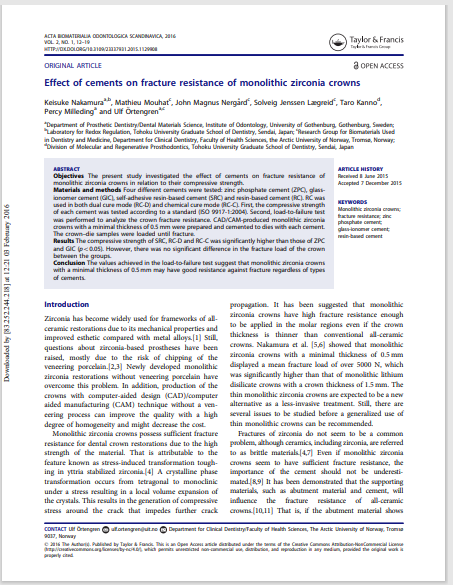 Effect of cements on fracture resistance of monolithic zirconia crowns