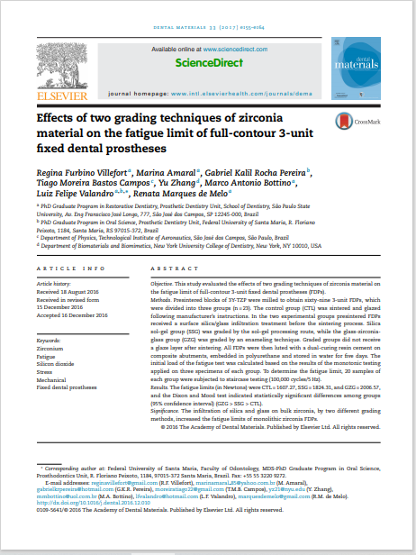 Effects of two grading techniques of zirconia material on the fatigue limit of full-contour 3-unit fixed dental prostheses