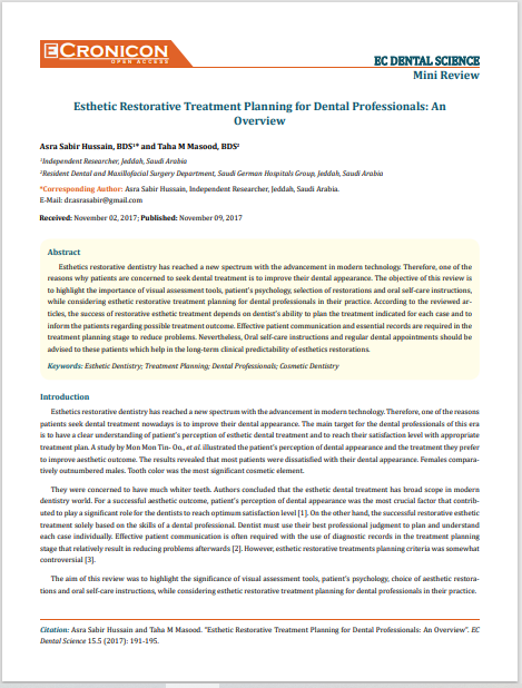 Esthetic Restorative Treatment Planning for Dental Professionals: An Overview