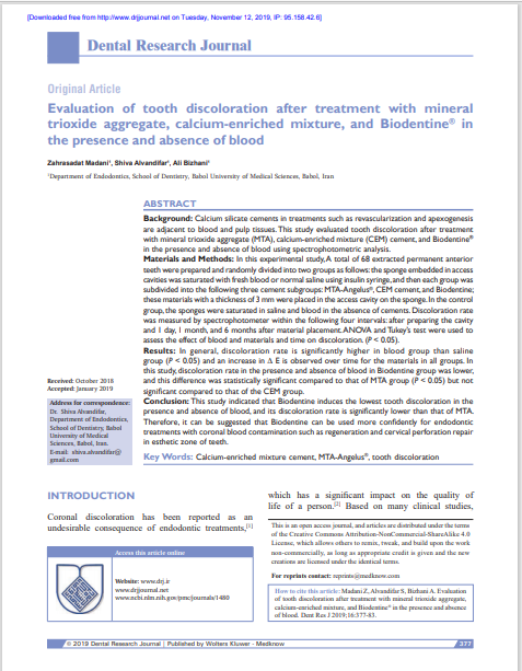 Evaluation of tooth discoloration after treatment with mineral trioxide aggregate, calcium‑enriched mixture, and Biodentine® in the presence and absence of blood