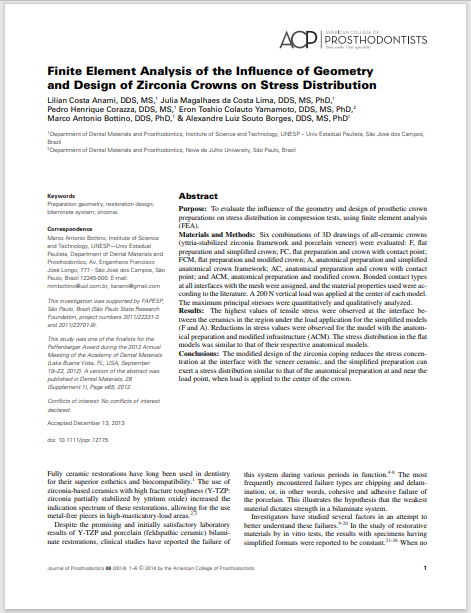 Finite Element Analysis of the Influence of Geometry and Design of Zirconia Crowns on Stress Distribution