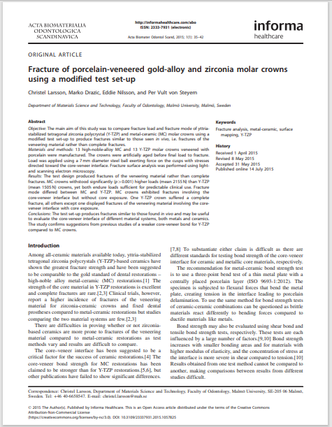 Fracture of porcelain-veneered gold-alloy and zirconia molar crowns using a modified test set-up