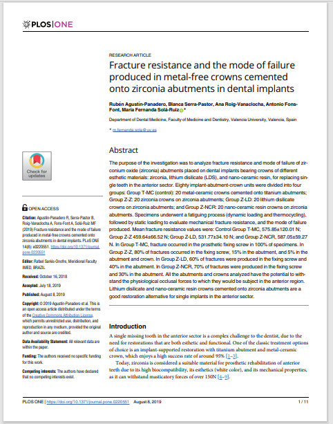 Fracture resistance and the mode of failure produced in metal-free crowns cemented onto zirconia abutments in dental implants