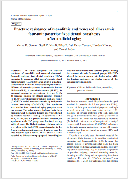 Fracture resistance of monolithic and veneered all-ceramic four-unit posterior fixed dental prostheses after artificial aging