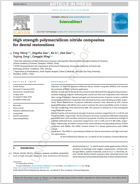 High strength polymer/silicon nitride composites for dental restorations