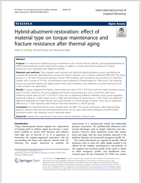 Hybrid-abutment-restoration: effect of material type on torque maintenance and fracture resistance after thermal aging