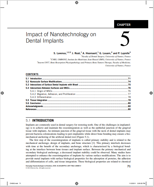 Impact of Nanotechnology on Dental Implants