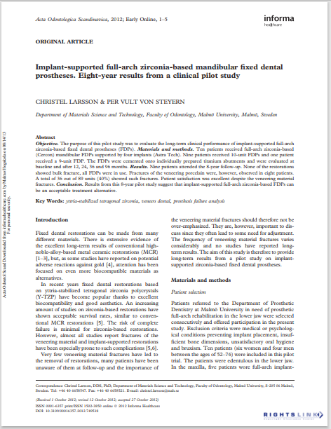 Implant-supported full-arch zirconia-based mandibular fixed dental prostheses. Eight-year results from a clinical pilot study