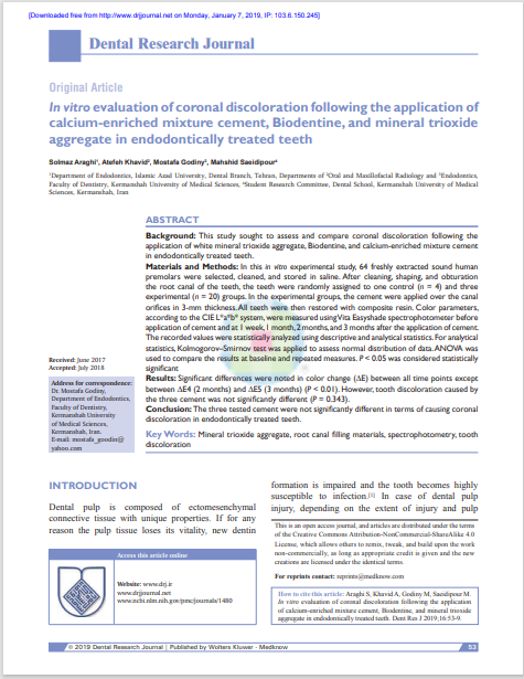 In vitro evaluation of coronal discoloration following the application of calcium‑enriched mixture cement, Biodentine, and mineral trioxide aggregate in endodontically treated teeth