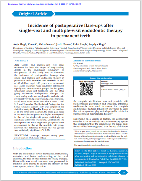 Incidence of postoperative flare‑ups after single‑visit and multiple‑visit endodontic therapy in permanent teeth