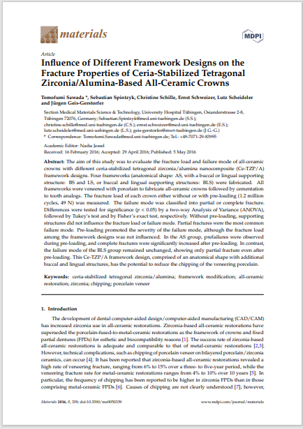 Influence of Different Framework Designs on the Fracture Properties of Ceria-Stabilized Tetragonal Zirconia/Alumina-Based All-Ceramic Crowns