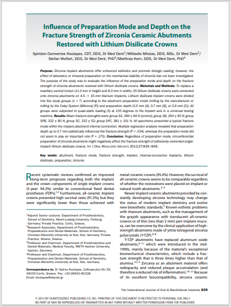 Influence of Preparation Mode and Depth on the Fracture Strength of Zirconia Ceramic Abutments Restored with Lithium Disilicate Crowns