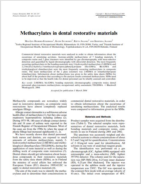 Methacrylates in dental restorative materials