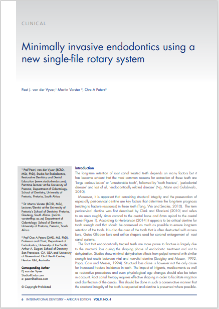 Minimally invasive endodontics using a new single-file rotary system