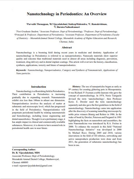 Nanotechnology in Periodontics: An Overview