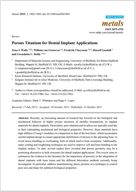 Porous Titanium for Dental Implant Applications