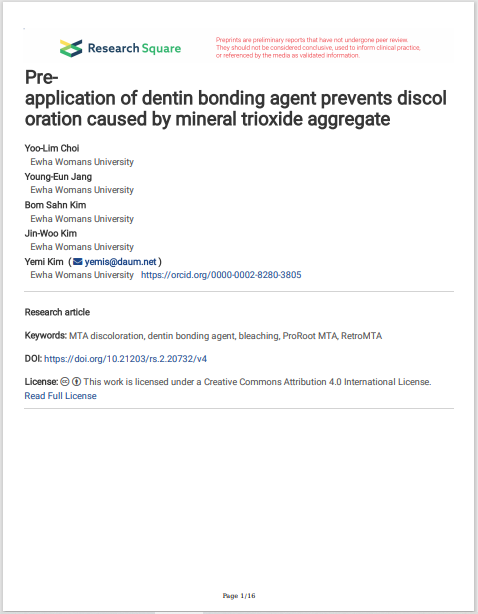 Preapplication of dentin bonding agent prevents discol oration caused by mineral trioxide aggregate
