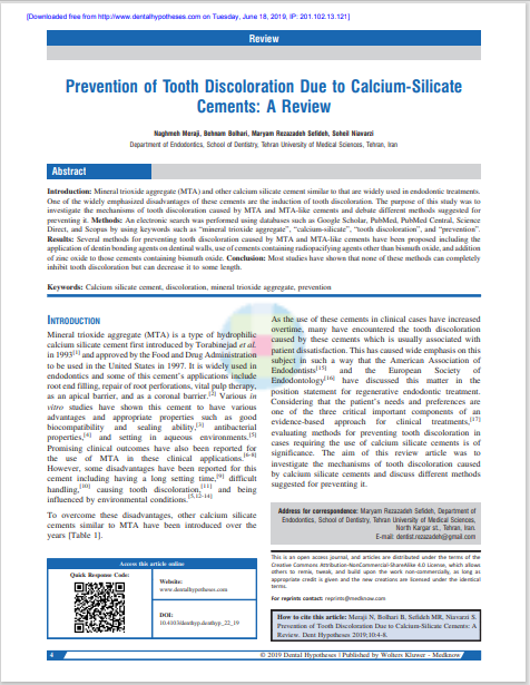Prevention of Tooth Discoloration Due to Calcium-Silicate Cements: A Review