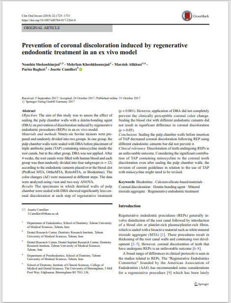 Prevention of coronal discoloration induced by regenerative endodontic treatment in an ex vivo model