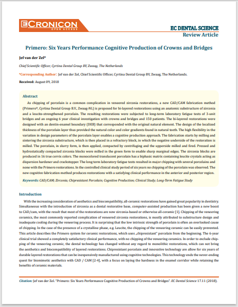 Primero Six Years Performance Cognitive Production of Crowns and Bridges