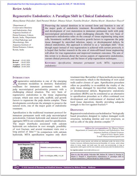 Regenerative Endodontics: A Paradigm Shift in Clinical Endodontics