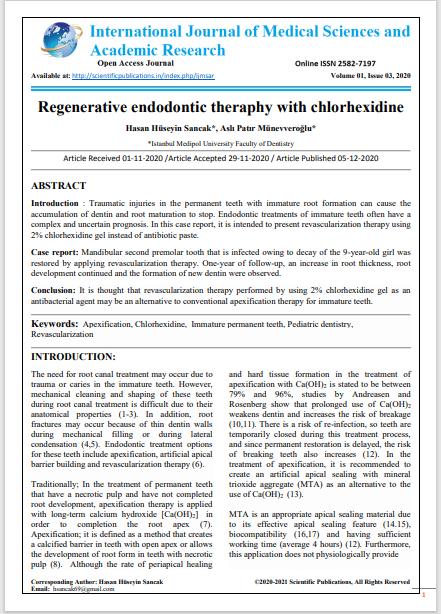 Regenerative endodontic theraphy with chlorhexidine