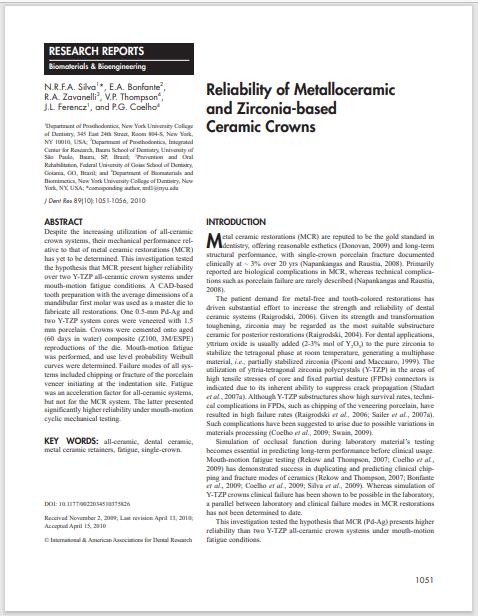 Reliability of Metalloceramic and Zirconia-based Ceramic Crowns