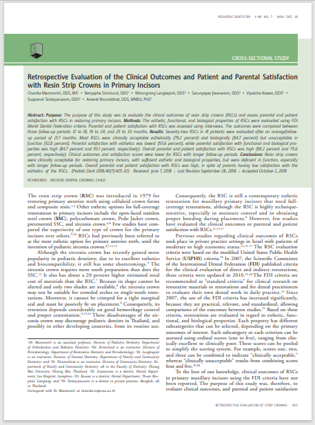 Retrospective Evaluation of the Clinical Outcomes and Patient and Parental Satisfaction with Resin Strip Crowns in Primary Incisors