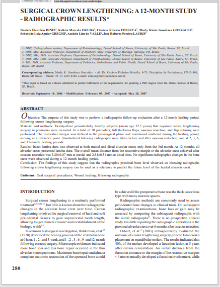 SURGICAL CROWN LENGTHENING: A 12-MONTH STUDY - RADIOGRAPHIC RESULTS*