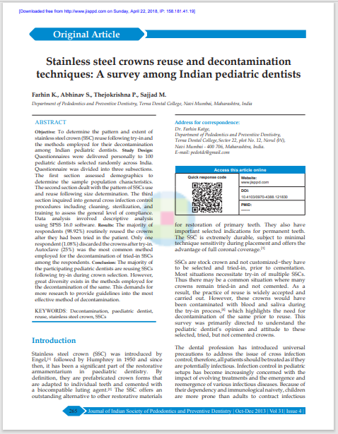 Stainless steel crowns reuse and decontamination techniques: A survey among Indian pediatric dentists