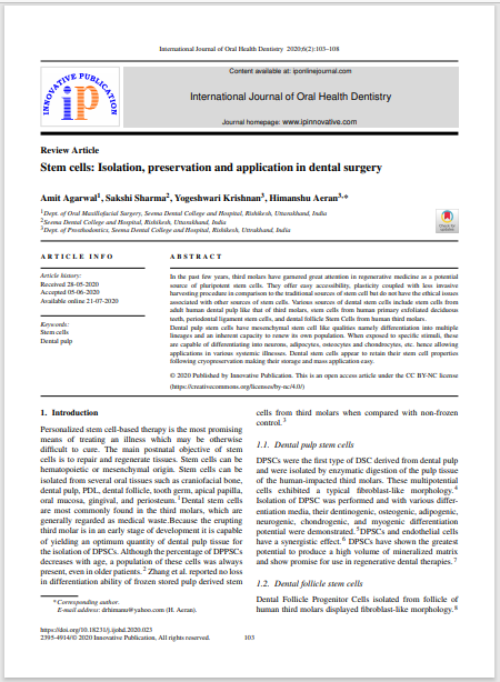 Stem cells Isolation, preservation and application in dental surgery