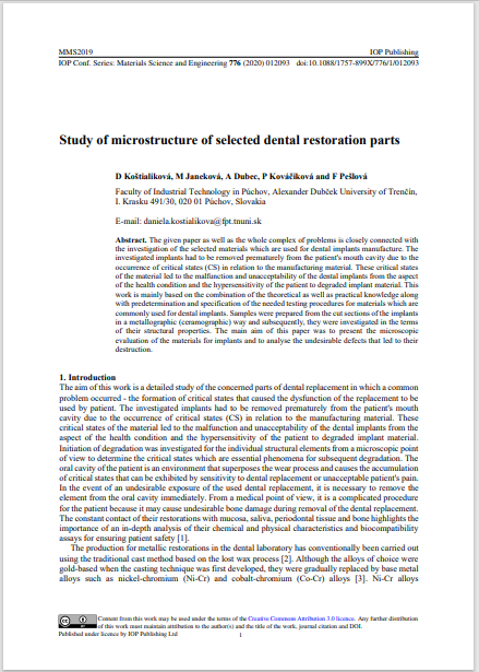Study of microstructure of selected dental restoration parts