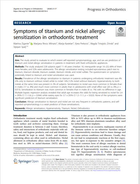 Symptoms of titanium and nickel allergic sensitization in orthodontic treatment